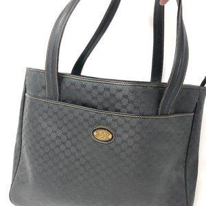 Gucci GG Vintage Large Black Leather Bag